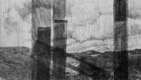 Steinbruch, Klebbandspuren Fenster Transboavista - Lisboa, 2019